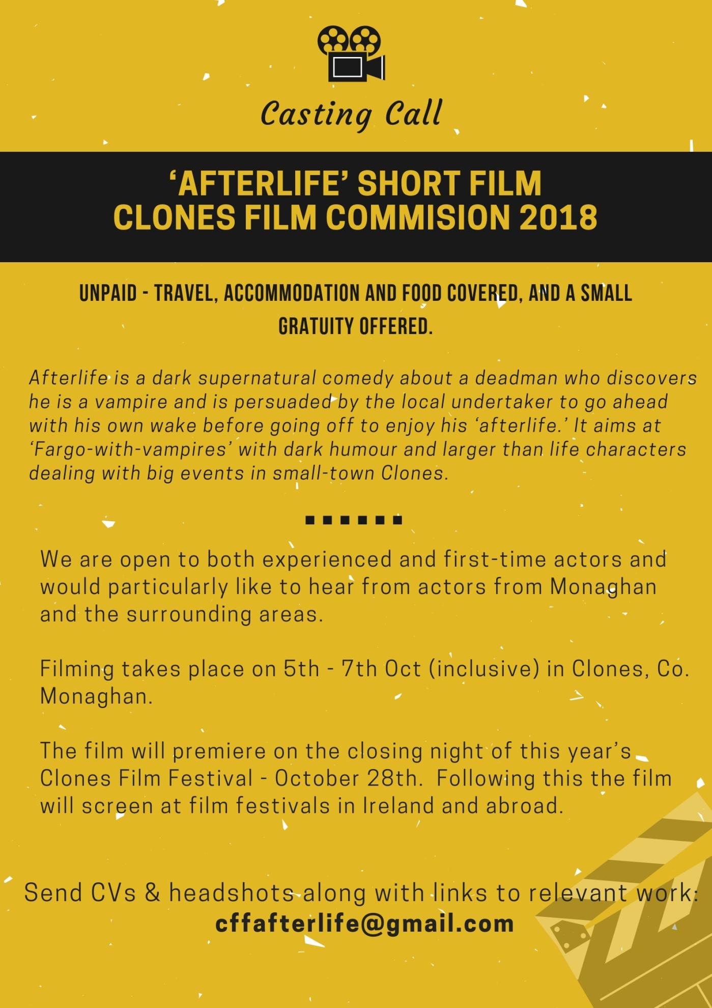 Casting Call For Short Film Clones Film Commission 2018